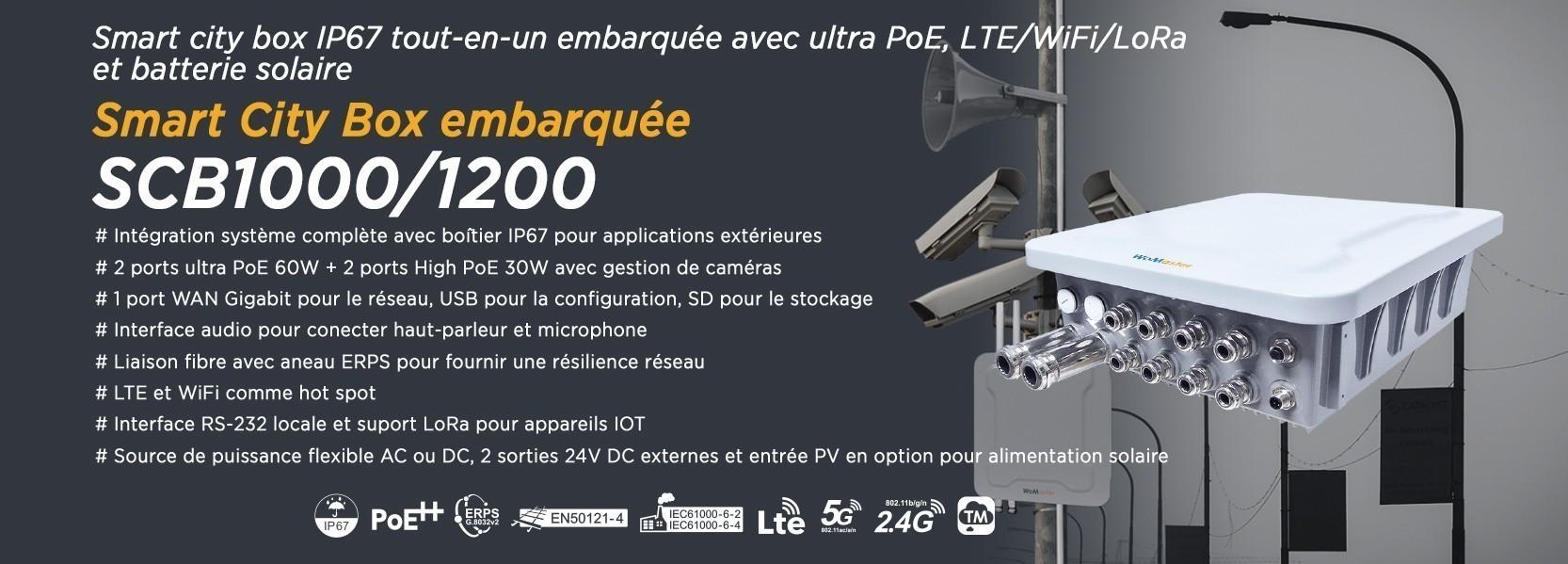 Système de communication entièrement intégré dans un boîtier IP67 pour applications Smart City et IIoT, LTE et WiFi