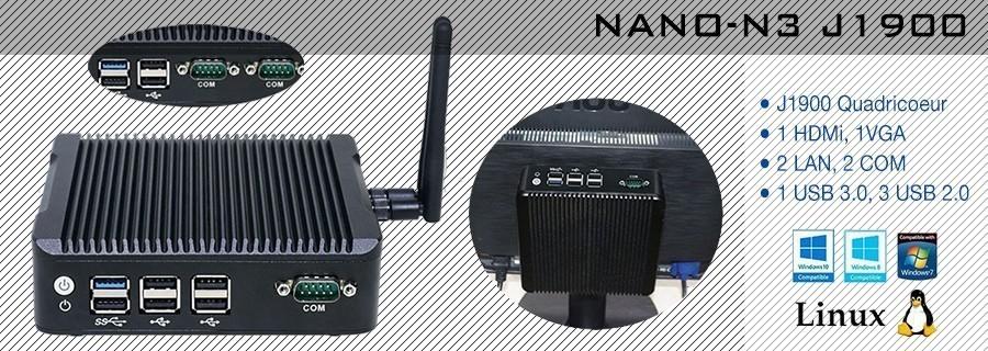 Mini PC Box sans ventilateur, processeur Intel Celeron J1900, 1 ou 2 COM, Windows et Linux supportés