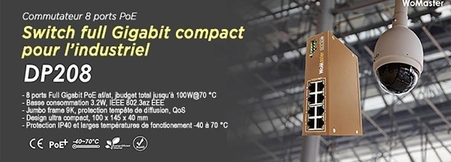 Switch Womaster compact 8 ports PoE et full Gigabit pour l'industrie